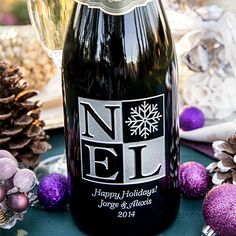 An instant holiday classic! The clean, contemporary feel of this holiday etched wine design are sure to please. Etched and painted in a glimmering silver, its simply a showstopper of fun, festive, gift giving elegance. Add your message underneath and you have the gift of a life time. Happy Holidays!