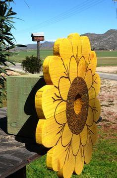 Sunflower in bloom birdhouse