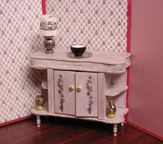 Antique French gray Shabby Chic buffet by AuntElliesMiniatures