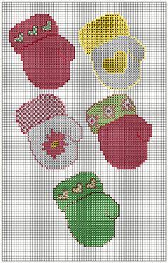 Cross Stitched Mitteons