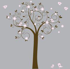 White Swirl Tree with Pink Flowers Birds Nursery by wallartdesign