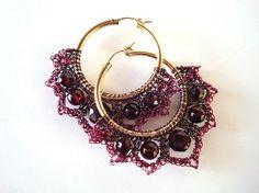 Crocheted Wire Garnet Earrings by dragonswire on Etsy, $65.00