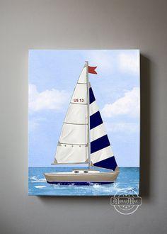 """Nursery Art, Baby Nursery Room Decor, Nautical Nursery Canvas , Nautical art  12"""" x 16"""" sail boat"""