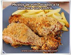 Muslos de pollo asados a la  mostaza con costra.