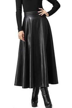 Zeagoo Women Fall Winter Synthetic Leather High Waist Mini/ Maxi Long Skater Skirt at Amazon Women's Clothing store: