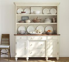 Keaton Buffet & Hutch in French white | Pottery Barn