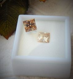 Faceted Strantium Titanate Princess Cut 4.25 & 3.75 Ct. PAIR