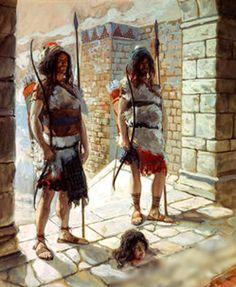 Reehab and Baana bring the head of Ishbosheth to King David.  Painting by Tissot?