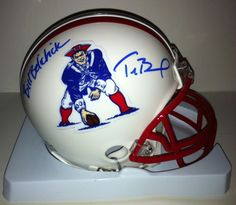 Tom Brady & Bill Belichick Autographed Throwback NE Patriots Mini Helmet