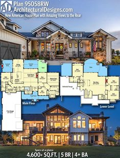 Good one Architectural Designs Home Plan gives you 5 bedrooms 4 baths and 4 600 sq ft Dream House Plans, Modern House Plans, Modern House Design, House Floor Plans, Dream Houses, Floor Plans 2 Story, 6 Bedroom House Plans, Unique Floor Plans, Lake House Plans