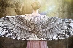 White Cotton Women scarf Hand painted Wings and by Shovava on Etsy, $48.00