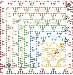 Discover thousands of images about Crochet motif chart patterncrochet square pattern Crochet Bedspread Patterns Part 17 - Beautiful Crochet Patterns and Knitting Patterns - Crochet Bedspread Patterns Part Granny Square Rose SThis Pin was di Crochet Bedspread Pattern, Crochet Square Patterns, Crochet Motifs, Crochet Blocks, Granny Square Crochet Pattern, Crochet Diagram, Crochet Stitches Patterns, Crochet Chart, Crochet Squares