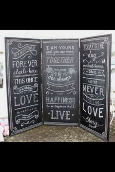 Large chalkboard styled like a privacy screen