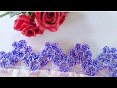 Crochet Edging Patterns, Crochet Lace Edging, Crochet Borders, Crochet Flowers, Crochet Stitches, Crochet Videos, Embroidery Designs, Diy And Crafts, Couture