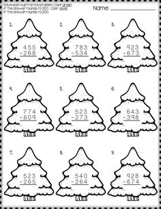 Christmas Subtraction with Regrouping Printables Math Worksheets, Math Activities, Teaching Resources, Christmas Math, Christmas Activities, Teaching Tools, Math Centers, In Kindergarten, Teacher