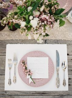 juxtaposition of lace and rustic wood is awesome - Sophisticated pale pink table setting