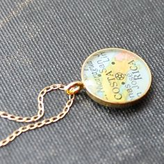 Gold Plated Vintage Map Necklace. You Select Journey. by DLK Designs, LLC