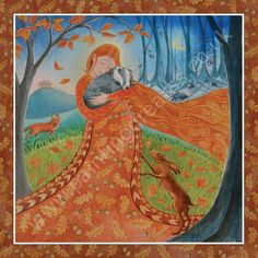Autumn Equinox Goddess by Wendy Andrew. Autumn Equinox - circa September Earth Mother brings the chestnut copper days of autumn, rich with ripe fruits and nuts. A time of gentle stillness before the harsher times ahead. Mabon, Samhain, Yule, Illustrations, Illustration Art, Summer And Winter Solstice, Dragons, Pagan Festivals, Autumnal Equinox