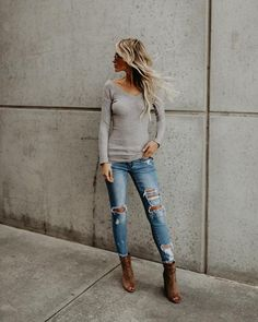 Babe Magnet Ribbed Sweater - Heather Grey