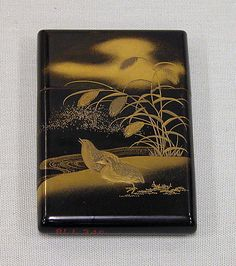 Card Case with Design of Quail and Millet  Period: Edo period (1615–1868) Date: mid-19th century Culture: Japan Medium: Gold and silver maki-e on black lacquer