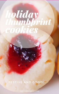Holiday thumbprint cookies the family will love. So easy to make with kids, and so delicious, too. Jam Thumbprint Cookies, Fruit Jam, Five Ingredients, Strawberry Jam, Dessert Recipes, Desserts, Yummy Cookies, Christmas Baking, Chocolate Recipes