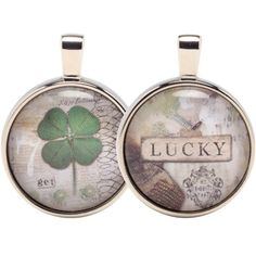 "CLICK PIC TO BUY! Lucky Double Bubble 2 sided Charm - Vintage scraps & playful sayings artfully arranged & reproduced under glass. Finished with polished nickel. 3/4"" Other styles & Chains also available to match your piece. www.nobleniches.com #stpatricksday #lucky #fourleafclover #getlucky #vintagejewelry #jewelry #charm #irishcharm #irish #nobleniches #noblenichesvintage #homestylesgallery #minthill #minthillgift #charlotteboutique #charlottejewelry #minthilljewelry"