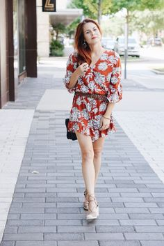 transitional outfit ideas, fall colors, floral romper, comfortable outfit, burnt orange outfit