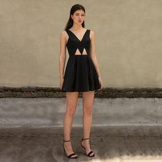 Geo Cutout Dress Black