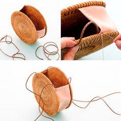 How to DIY Backpack Patches - Bags and Purses 👜 Diy Clutch, Diy Purse, Diy Straw, Straw Bag, Diy Rucksack, Bag Sewing, Circle Purse, Basket Bag, Handmade Bags