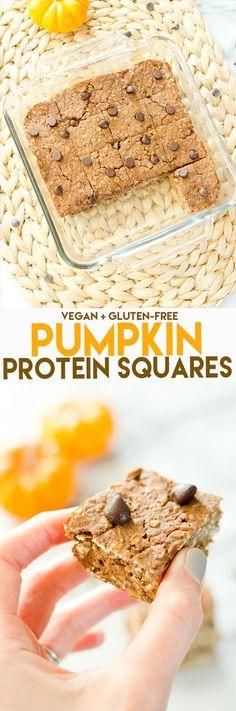 Pumpkin Protein Bars // 60 cals, 5 grams of protein, 7 grams of carbs #vegan #glutenfree