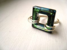 Swarovski ring Statement jewelry Olive Green Turquoise by Vitrine, $27.00