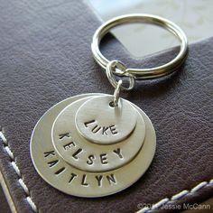 Custom Key Chain  Personalized Hand Stamped by jessiemccann, $37.00