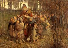 """""""The Pied Piper of Hamelin"""" painted by James Elder Christie. Illustrates the poem by Robert Browning."""