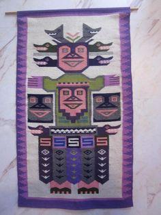 Grosser Wandbehang Teppich Wandteppich 60er 70er ethno boho design