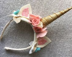 Gold Unicorn Headband with Pony Ears, 100% Merino Wool Felt