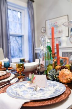 Thanksgiving tablescape with vintage plates and indiana glasses www.homewithkeki.com
