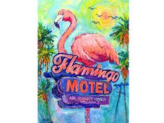 Pine Island, Tropical Decor, Art Reproductions, Flocking, Motel, Artist Art, Flamingo, Birds, Hand Painted