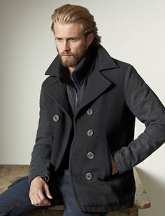 Love this coat! If only the models came with them.. lol! MENS WOOL PEACOAT WITH DENIM SLEEVES #TRholiday13