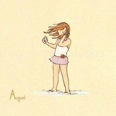 No, ella no quiere hablar a su celular. Está escuchando al océano. En el océano. Con una cáscara. Se coordina con los 12 de su mes por mes