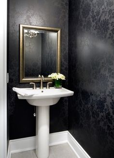 Jane Lockhart Interior Design modern powder room - would never think to do black walls...but wow