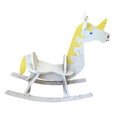 This unicorn has a whimsical rustic look.  A cute addition to a child's room or for the eclectic collector. It's been well loved.