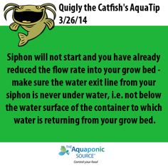Siphon will not start and you have already reduced the flow rate into your grow bed - make sure the water exit line from your siphon is never under water, i.e. not below the water surface of the container to which water is returning from your grow bed