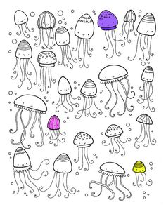 Hoja para colorear : medusas >> Lots of things to find and colour on Holiday - jellyfish | Flickr: Intercambio de fotos