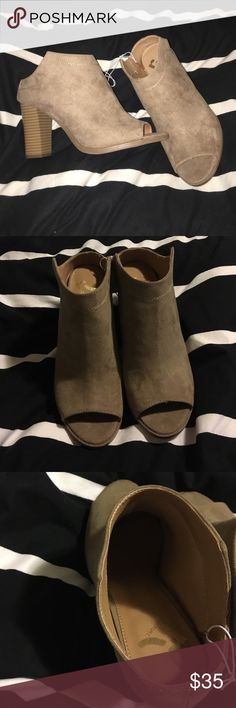NWT heels/booties Brand new with tags heel/booties tan suede so comfortable! 💋I do not trade & only accept offers through offer button 💋 Report Shoes Ankle Boots & Booties