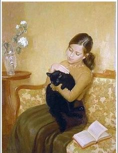 Irina Kalentieva - young girl with a black cat, who was reading. (The black cat can read? I Love Cats, Crazy Cats, Illustrations, Illustration Art, Black Cat Art, Black Cats, Photo Chat, Reading Art, Cat Drawing