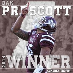 Dak Prescott wins 19th Annual Conerly Trophy for Best College Football Player in the state of Mississippi - 2nd year in a row for MSU. #HailState