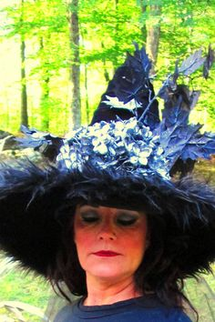 Witch Hat Black Silver Flowers Glitter by witchesnstitcheshats