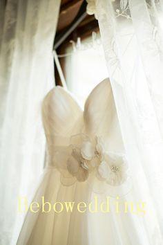 Simple fashion organza flowers wedding dress by Bebowedding, $279.00