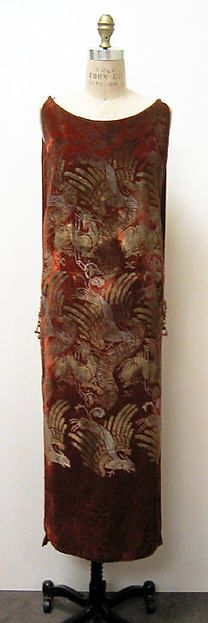tabard-style stenciled silk velvet dress (front view)   1920s evening ensemble   Maria Gallenga