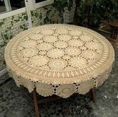 Handmade Crochet  Tablecloth/ Tablelinen   59 by TableclothShop, $68.00